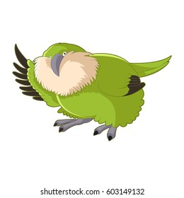 Vector image of the Cartoon greeting Kakapo