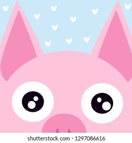 vector image of a cartoon pig head on a blue background with hearts