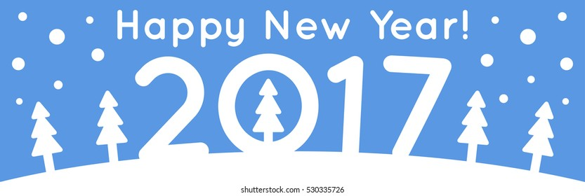 Vector image in cartoon style with congratulations for New Year design.