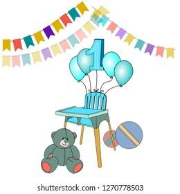 Vector image of celebration stuff for little baby boy's first birthday in blue version. Bright flags, blue ballons, blue feeding chair and toys. Suitable to make a greeting card.
