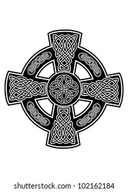 Vector image Celtic cross with patterns