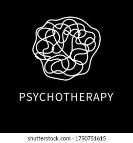 Vector image of a chaotic curve line tangled in a spider web or messy ball of thread. Template for the abstract logo of psychology, psychoanalysis, psychiatry, consciousness, brain function, gestalt.