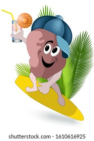 Vector image of a character in the form of a brain with a surfboard and a refreshing cocktail. Conceptual illustration consisting of four images in different views