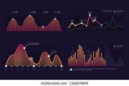 Vector image charts and diagrams for presentation or financial report. Infographics concept.Increase and decrease of indicators in graphic diagram. Colorful vector illustration