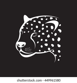 Vector image of an cheetah face on black background. Vector cheetah face for your design.