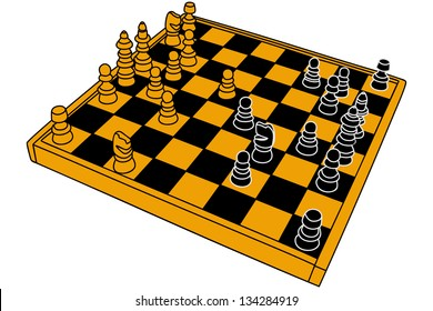 The vector image of a chessboard with figures