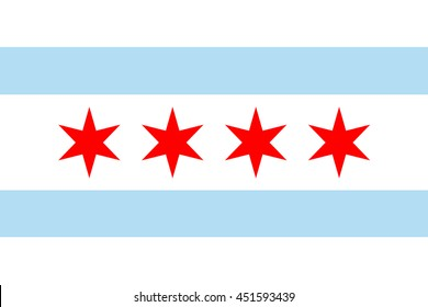Vector image of  Chicago Flag. Proportion 2:3. EPS10.