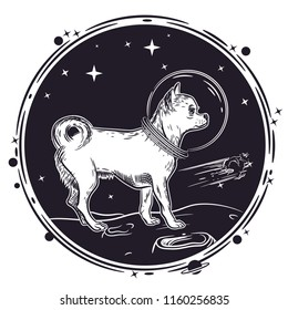 Vector image of a chihuahua dog in an astronaut's helmet. Sample print for T-shirts.