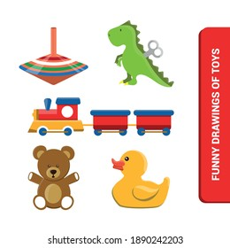 Vector image. Children's toys drawings. Toy with a spinning top, dinosaur, teddy bear, rubber duck and a train. Nice drawings for children.