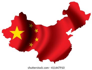 Vector image of china flag map