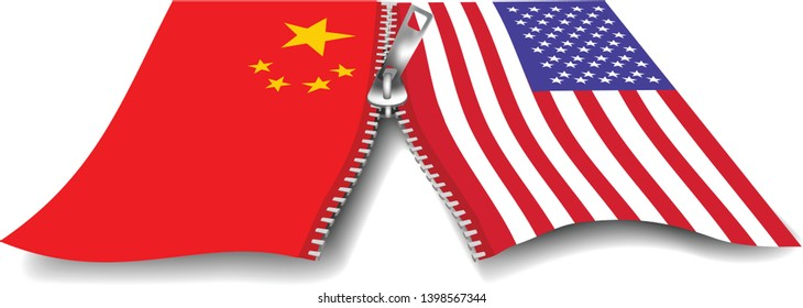 Vector image of China and USA flag zipping together or zipping apart- relationship between the two countries