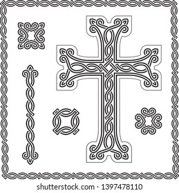 vector image of christian cross and design elements with interlaced ornament