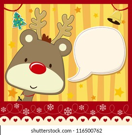 vector image for christmas card with baby rudolph with text ballon for your message and other xmas theme elements