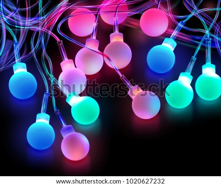 vector image of christmas colored light bulbs on dark background