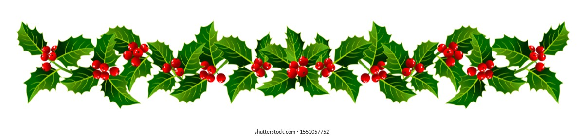 Vector image Christmas garland of holly branches on a white background, ornament for the decor of cards, banners. New Year's colors, red and green.