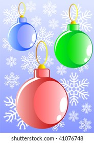 Vector image of Christmas tree ornaments. Balls on the background of snow