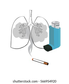 Vector image of a cigarette with smoke flowing into lungs and an inhaler