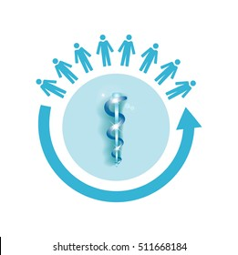 Vector image of a circle of people with the medical symbol rod of asclepius