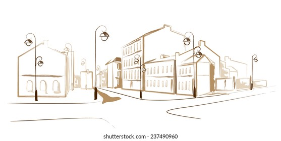 Vector image of a city street with old houses on a white background