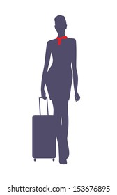 vector image of civil airplane flight attendant silhouette, isolated on white