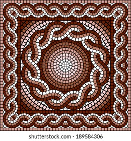 vector image with classic geometric square Greek mosaic
