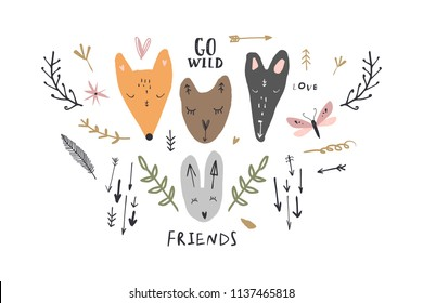 Vector image, clipart, editable details. Cute animals and symbols set. Scandinavian design, modern style. Decor elements for your projects and other.