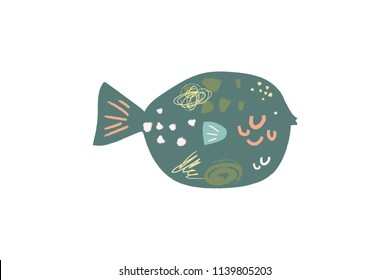 Vector image, clipart, editable details. Cute cartoon tropical fish art. Decor elements for your projects and other.