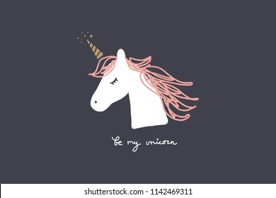 Vector image, clipart, editable details. Unicorn face, head. Baby style art. Illustration for cards, postcards, posters, clothes, branding and other.