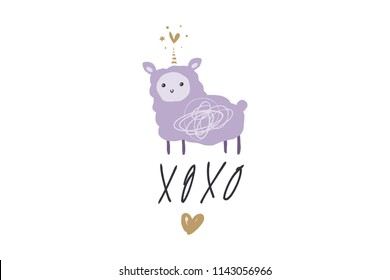 Vector image, clipart, editable details. Kawaii cartoon llama unicorn art, llamacorn, nursery stylish Illustration, unique print for posters, cards, clothes, invitations, t-shirts designs, baby stuff.
