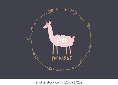 Vector image, clipart, editable isolated details. Cute cartoon girl lama art, llamacorn, nursery stylish Illustration, unique print for posters, cards, clothes, invitations, baby stuff.
