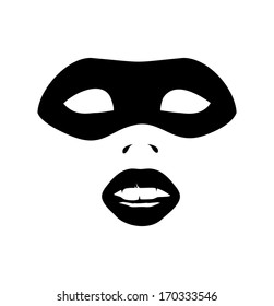 vector image of closeup portrait of sexy woman in party mask for desire and venetian concept