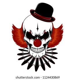 Vector image of a clown skull