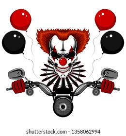 Vector image of a clown skull driving a motorcycle. Clown skull with red hair and a jabot.
