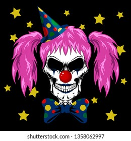 Vector image of a clown's skull with pink hair. Skull in a clown cap and a bow around the neck.