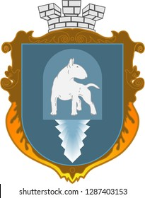 Vector image of the coat of arms with a bull terrier on the shield. Blazon. Knight Armour. Family coat of arms. Flat design, vector illustration, vector.