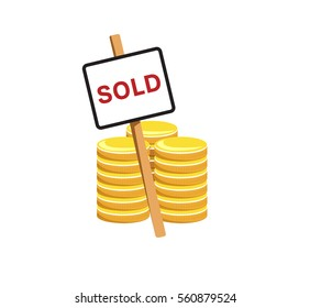 Vector image of coins and a sold sign