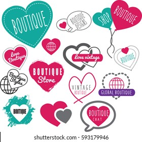 vector image of a collection of ideas for high street or online boutique shops