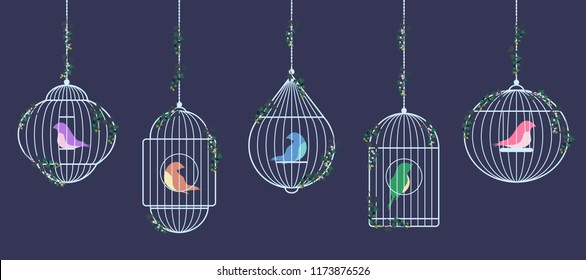 Vector image of colored birds of prisoners in cages. Silver birdcages are suspended on chains braided with ivy.