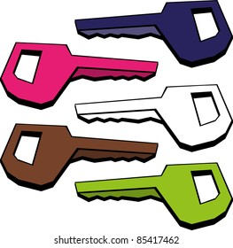 A vector image of a colored key. All objects are separated, the can be scaled, edited or recolored for 5 minutes