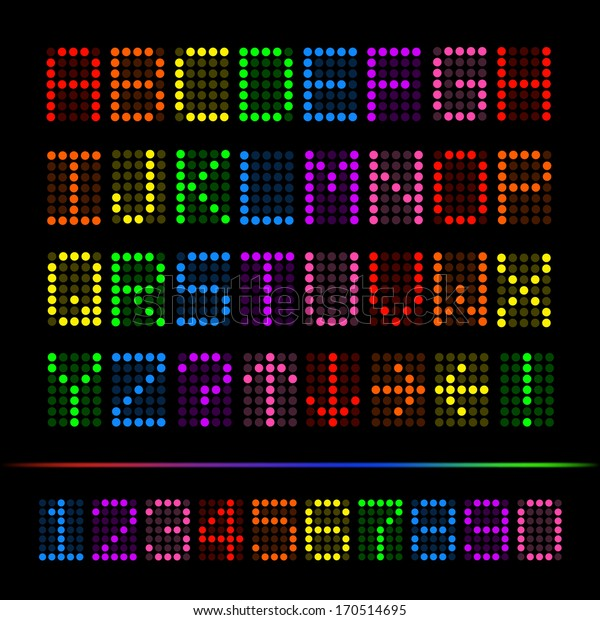 Vector image of a colorful digital font set.