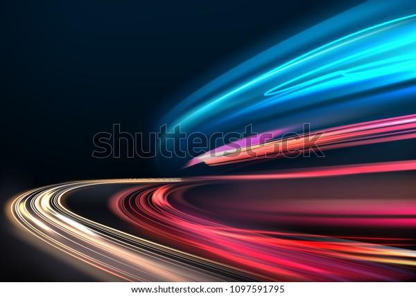 Imagen vectorial de senderos de luz coloridos con efecto borroso del movimiento, exposición a largo tiempo. Aislado en segundo plano