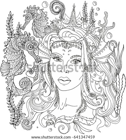 vector image coloring pages adults mermaid stock vector royalty