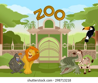 Vector image of a colurful zoo gate with African animals
