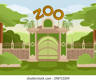 Vector image of a colurful zoo gate
