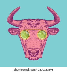 Vector image of a cow with glasses. Bull painted in pink on a turquoise background. Surrealism. T-shirt design.