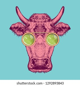 Vector image of a cow with glasses. Cow painted in pink on a turquoise background. Surrealism. T-shirt design.