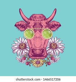 Vector image of a cow with glasses. Cow painted in pink on a turquoise background. Cow with flowers. Surrealism. T-shirt design.