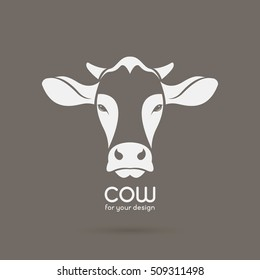 Vector image of a cow head design on brown background, Vector cow logo. Farm Animals.