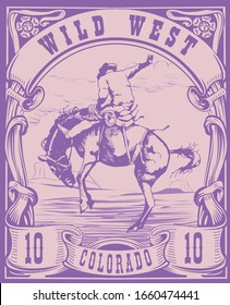 vector image of a cowboy on a horse in the form of a postage stamp with the inscription Colorado