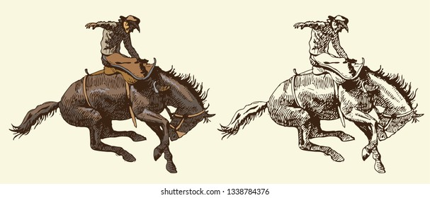 Vector image of a cowboy on a wild Mustang in the style of art graphics vintage engraving